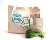 Organic Market Bag / eco friendly summer reusable food tote with vintage midcentury letters (ONLY 1 - ready to ship)