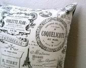 PILLOW sham cover  - Paris France retro cotton throw cushion / black and white home decor (ready to ship)