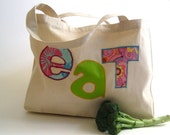 Organic Tote Bag for the summer farmer's market in neon pink green / eco friendly food bag with fabric letters (ONLY 1 - ready to ship)