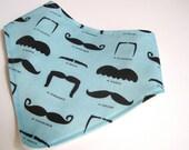 Organic BABY Bandana Bib Scarf - Hipster Boy Drooling Food Bib in Aqua Blue Mustaches Moustaches