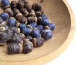 felted silk wool acorns giant SET of 36 / rustic home decor in brown, blue and driftwood gray - eco friendly favours decorations - SALE