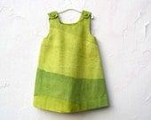 The Stella Dress - Girls Dress in Marimekko Ombre Greens - Modern Color blocks - Toddler Girls Spring Fashion