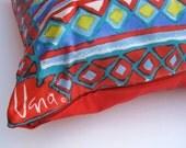 SALE - Vera Silk Throw PILLOW Cover - Handmade Pillow Sham -  Rare Mint 1970s Tribal Vera Silk in Red and Aqua - Home Decor (Ready to Ship)