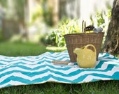 As Seen on HGTV- Waterproof Picnic Blanket- Personalized, Eco Friendly, Beach Blanket- Teal Chevron