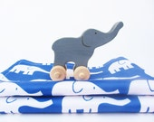 Organic Baby Elephant Toy and Burp Cloths SET of 2 - Wooden Rolling Circus Animal - Eco Friendly Blue White Nursery Gift (Ready to Ship)