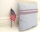 Pillow Sham Cover Handmade with Vintage Antique Blue White Ticking - Throw Pillow Home Decor for Fourth 4th of July (Ready to Ship)