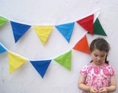 "Carnival Flag Bunting - 10' Feet XL Single Garland Pennant Decoration - 120"" Rainbow Summer Picnic Birthday Home Decor"