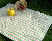 Reserved for sunnymillie - Eco Picnic Blanket \/ Reclaimed Vintage Madras - ONLY ONE
