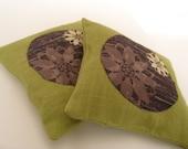 balsam fir sachets \/ silk and linen \/ simple greens with blossoms applique