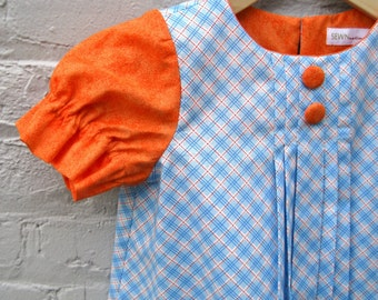 The Audrey Dress - Girls Easter Dress in Orange Sky Blue Plaid - Vintage Inspired Kids Fashion (made to order 2T 3T 4T 5T)
