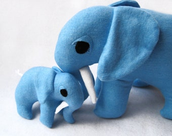 Daddy and Me Elephant Stuffed Animals Toys SET of 2 - Handcrafted Blue Plush Pachiderms Kids Toys
