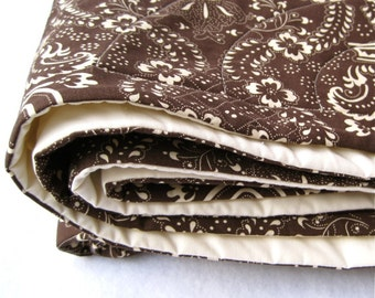Brown Organic Baby Quilt - Eco Friendly Baby Crib Bedding in Dark Espresso Chocolate - Modern Woodland Kids Nursery Decor