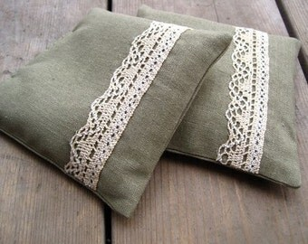 Balsam Sachets in Khaki Linen with Vintage Rustic Lace SET of 2 - Eco Friendly Decor, Scented Drawers, Aromatherapy, Hostess Favours