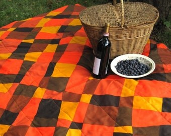 SALE - Eco Friendly Picnic Blanket - Handmade with Mod Eames Era Vintage Geometric Orange Brown Cotton (Last One)