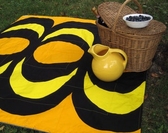 Sale PICNIC BLANKET - Summer Beach Blanket in Rare Collectible Vintage 1965 Marimekko Geometric Mod Yellow Gold Black (Last 1) Wedding Gift