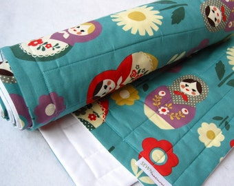 Matryoshkas Baby QUILT - Baby Bedding - Nesting Dolls on Turquoise Blue with Organic Cotton