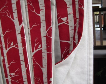 BirchOrganic Baby Blanket - Rustic Trees and Birds Forest in Garnet Red - Eco Friendly Kids Gift (Ready to Ship)