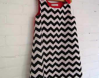The Ava Dress - Spring Girls Toddlers Pinafore Dress in Black White Chevron - Handcrafted Geometric Kids Clothing