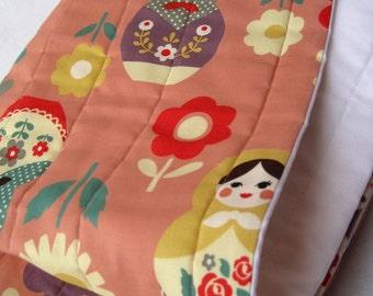 matryoshkas baby quilt organic / peach pink russian nesting dolls nursery bedding