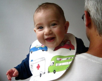 BABY BIB organic traffic trucks cars eco friendly baby shower gift- Last 2 (Ready to Ship)