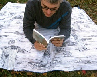 Picnic Blanket- Silver Gray Woodgrain- Summer Picnics- Gift for Men- Fathers Day