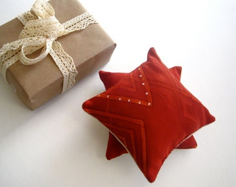 Kimono Silk Sachets filled with Aromatic Balsam Fir SET of 2 - Handmade with Vintage Japanese Kimono in Luxe Dark Ruby (Ready to Ship)