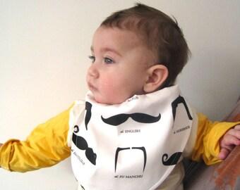BABY bandana bib organic mustache moustaches / hipster boys kids drooling bib baby shower gift