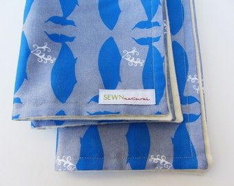 SALE - Organic Whale Baby Burp Cloths SET of 2 - Eco Friendly Nautical Gray and Blue Kids Gift (Ready to Ship)