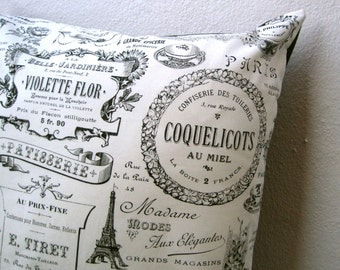 PILLOW sham cover  - Paris France retro cotton throw cushion / black and white home decor (ready to ship)