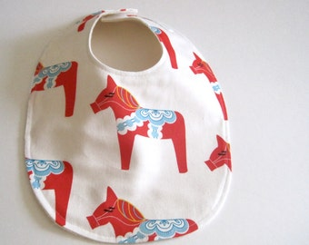 ORGANIC Baby Bib - Dala Horses in Red and White- Baby Bib- Eco Friendly, Modern, Baby Shower Gift
