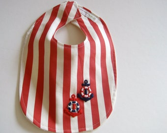 Organic BABY BIB - Nautical Summer Red and White Stripes / Unisex Eco-Friendly Baby Shower Gift