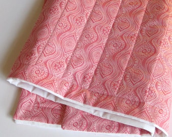 ORGANIC QUILT - Pink Baby Crib Quilt in Sweet Pink Cherry Blossoms for Modern Kids (Limited Edition)