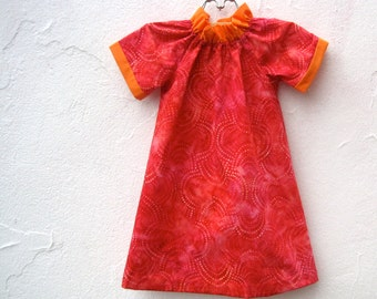 The Frida Dress - Girls Dress - Summer Kids Fashion in Raspberry Red Pink with Orange Ruffles (sizes 12 months to 5 years)