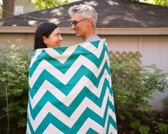 Picnic Blanket- As Seen on HGTV- Teal Chevron, Waterproof Picnic Blanket- Personalized Wedding Gift
