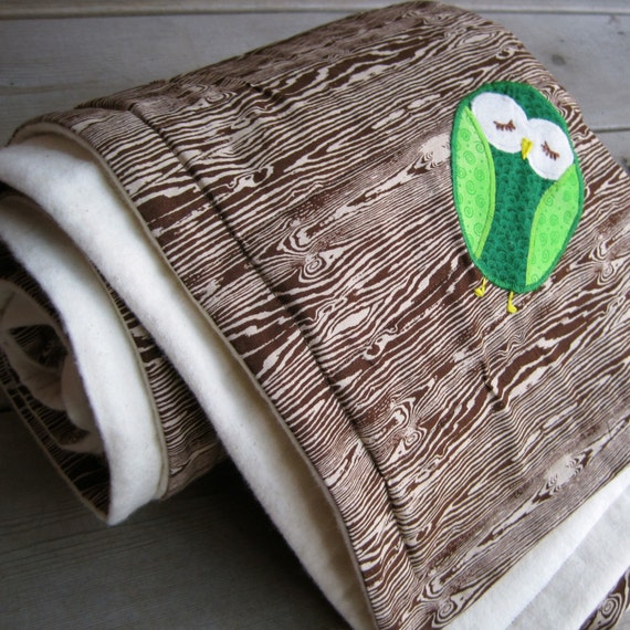woodgrain baby crib quilt / eco friendly brown with green owl (out of print fabric)
