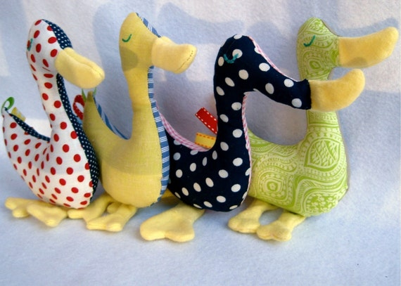 organic baby duck rattle toy \/ eco friendly upcycled vintage \/ waldorf inspired