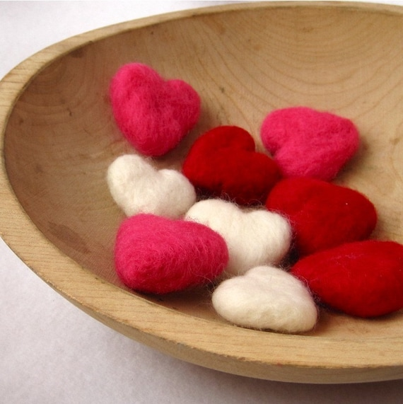 felted heart love pebbles wedding decor / set of three in white decorations