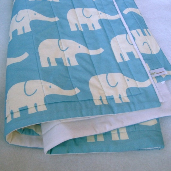 ORGANIC Baby Quilt / Turquoise Blue Elephants Modern Crib Bedding Quilted Blanket - Minimalist Kids Nursery Decor (Ready to Ship)