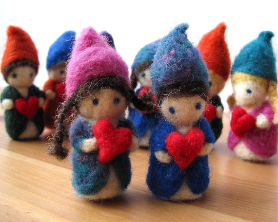 love felted heart gnomes / whimsical handmade miniatures