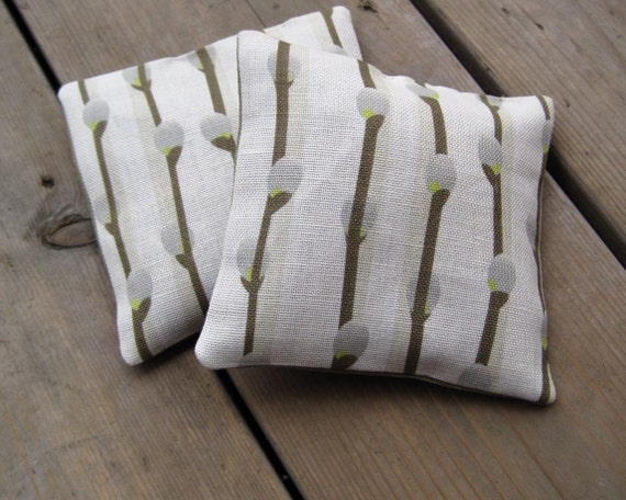 home decor linen sachets with balsam fir SET OF 2 / spring eco friendly catkins in olive and gray  (Last Set)