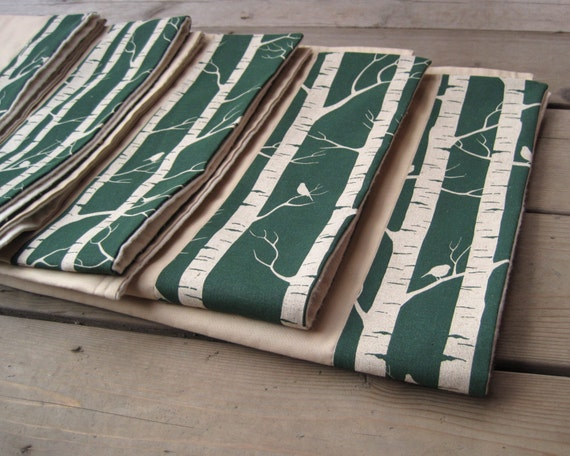 SALE organic birch baby blanket / rustic trees birds in eco friendly forest teal green (Ready to Ship)