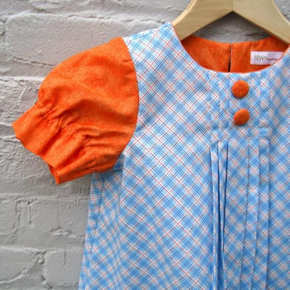 handmade girls dress / orange plaid sherbet by SewnNatural on Etsy