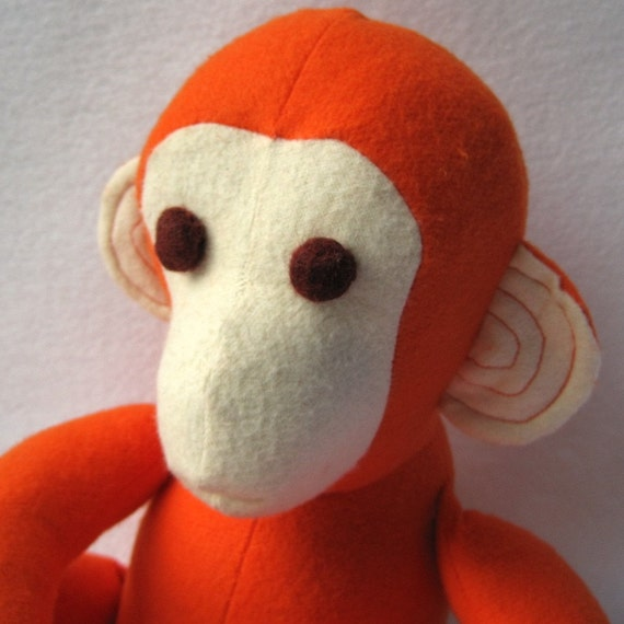 NEW organic baby toy stuffed animal monkey in atomic tangerine orange / Marlow