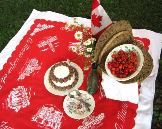 canada day picnic beach blanket / upcycled vintage red and white (1 available)