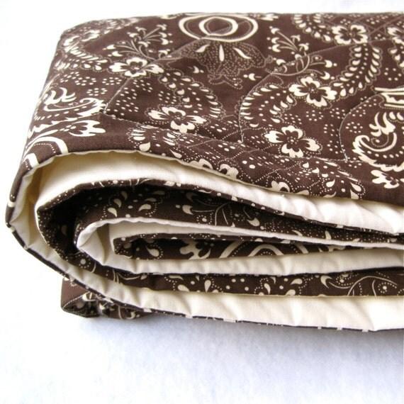 Brown Organic Baby Quilt - Eco Friendly Baby Crib Bedding in Dark Espresso Chocolate - Modern Woodland Kids Nursery Decor