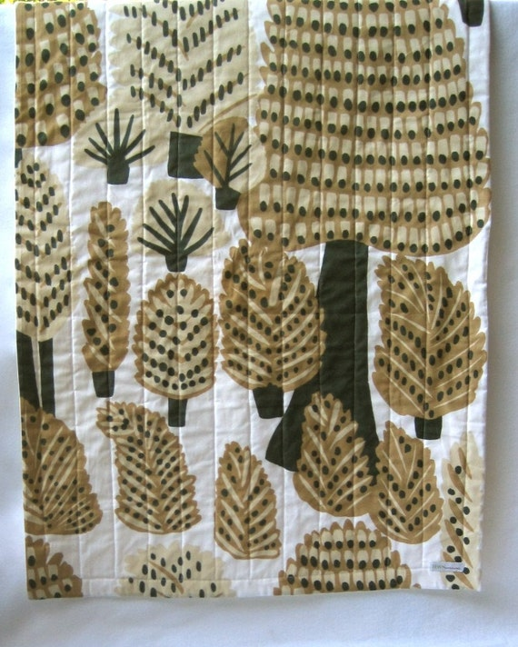 Baby QUILT - Marimekko Organic Modern Bedding - Pine Forest Dwellers in Natural Nougat Brown (Out of Print Fabric)