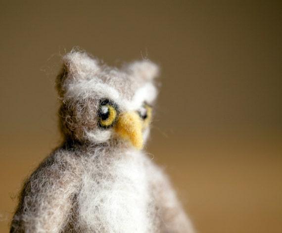 needle felted owl miniature toy sculpture autumn decor