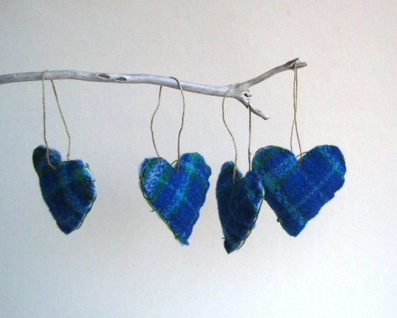 Reserved   upcycled heart felts ornaments set of 4 / tweed plaid sea blues - hostess gift (Ready to Ship) Last one