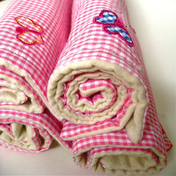 SALE - eco friendly baby burp cloths with organic flannel for girls / vintage pink gingham spring butterflies (Ready to Ship)