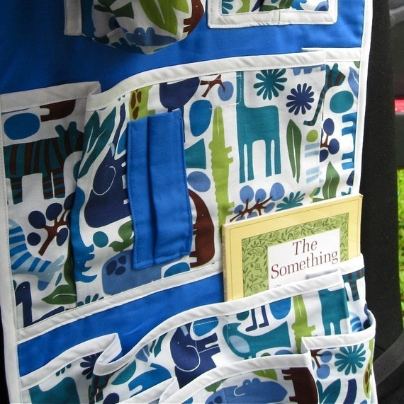 kids car seat organizer / it's a zoo in here in royal blue (Ready to Ship)